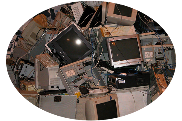 Old computers in trash