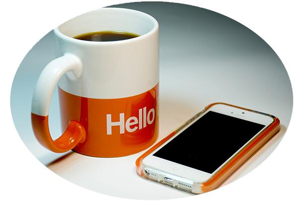 Hello mug and cell phone