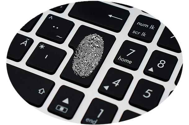 fingerprint on a keyboard